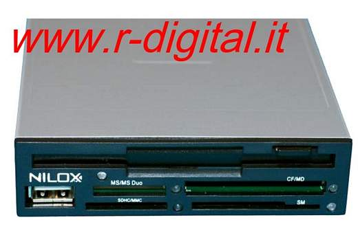 NILOX FLOPPY DISK + CARD READER + PORTA USB 3,5 INTERNO NERO