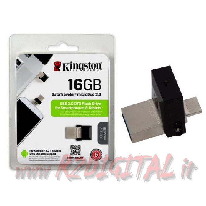 PENDRIVE DTMICRO KINGSTON 16 GB USB 3.0 PENNA TABLET SMARTPHONE