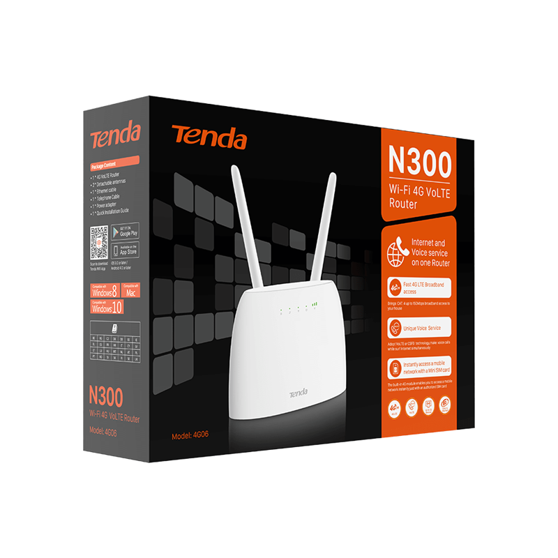 Router 4G LTE Wi-Fi N300 alternativa ADSL VoLTE - Tenda 4G06